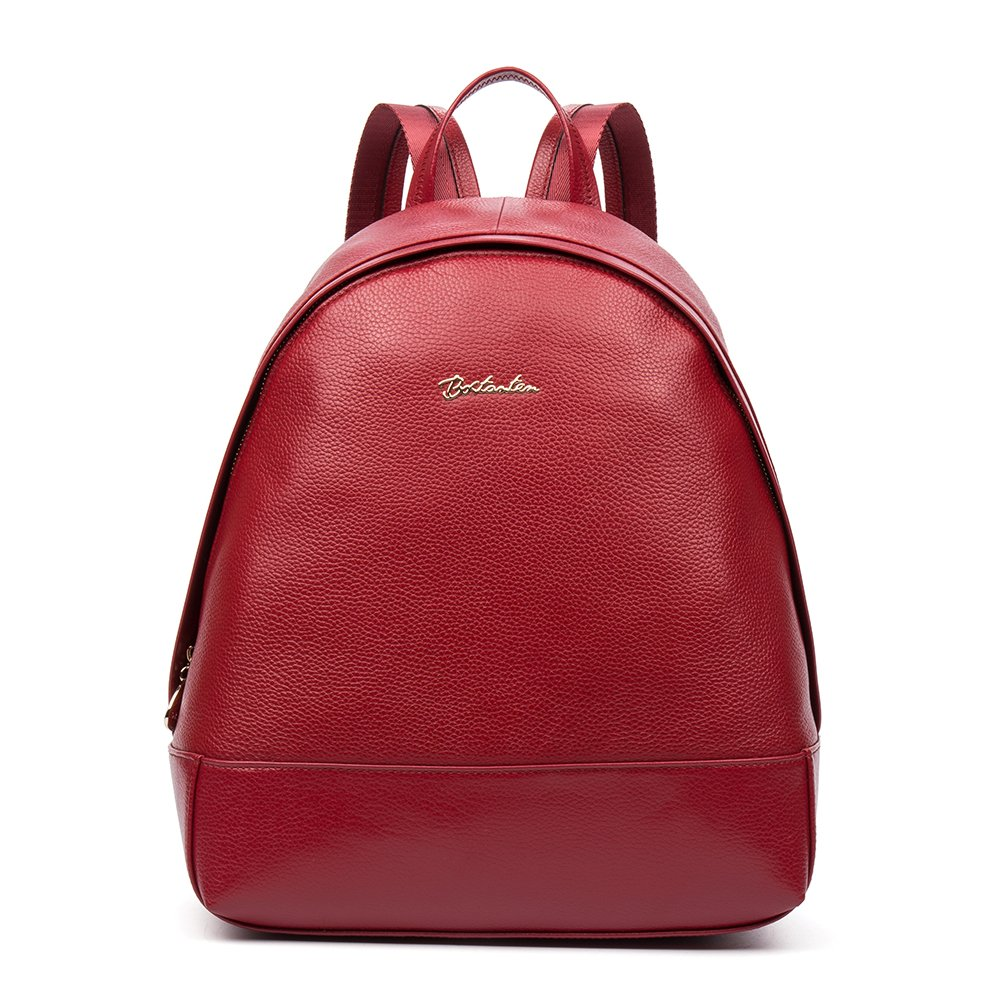 BOSTANTEN Genuine Soft Leather Backpack Purse Vintage School Bags for Women Red