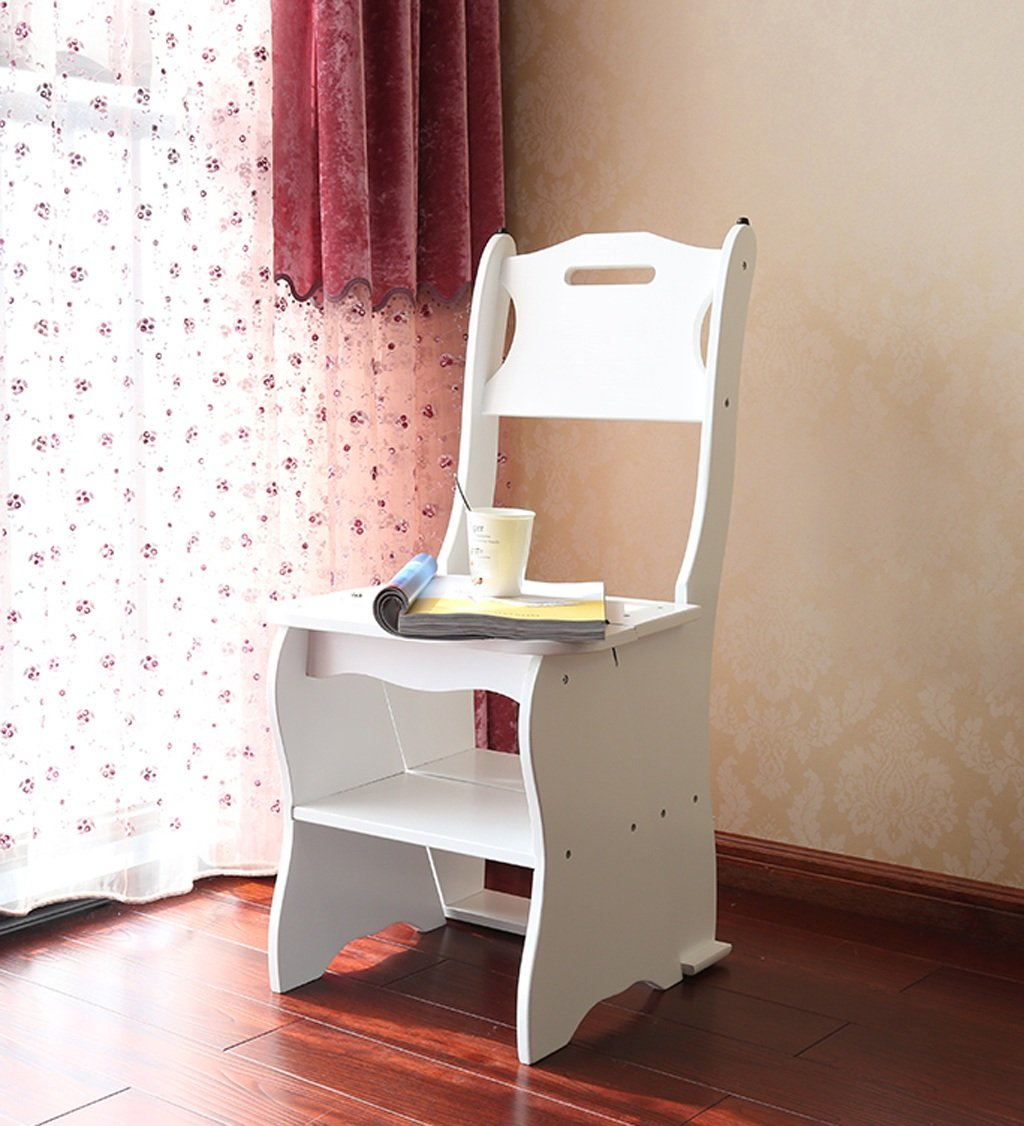 CAIJUN Step Stool Chairs Seats Back Stairs 4-storey Stool Fold Shelf , Height 86cm, 3 Color Optional Folding Ladder Chair ( Color : A )