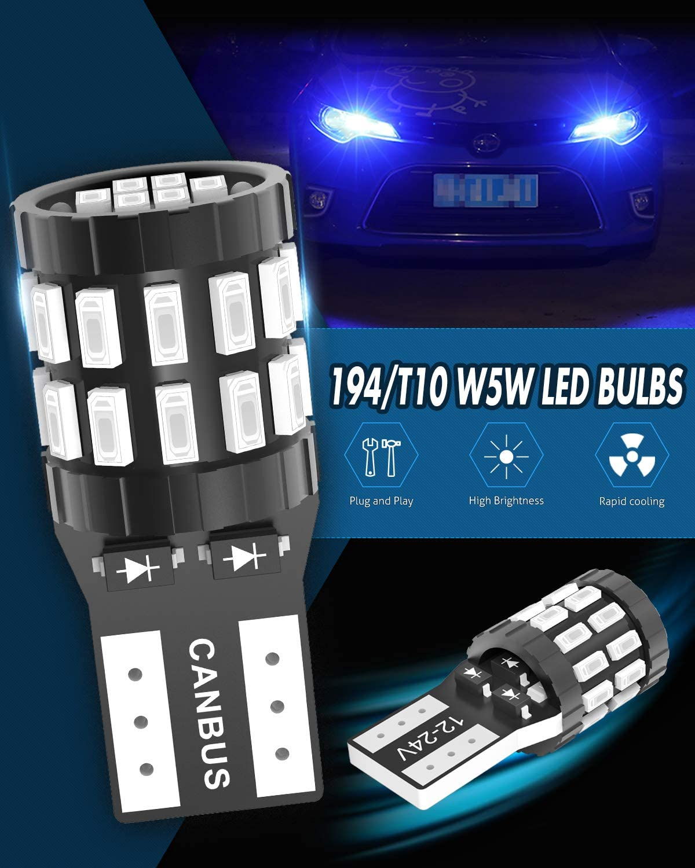 KATUR 194 W5W 168 2825 T10 LED CANBUS sans Erreur LED Bleu Ampoule 30-SMD 3014 12-24V Remplacement Lumi/ère de Plaque dimmatriculation de Porte de Carte de d/ôme de Voiture Version am/élior/ée