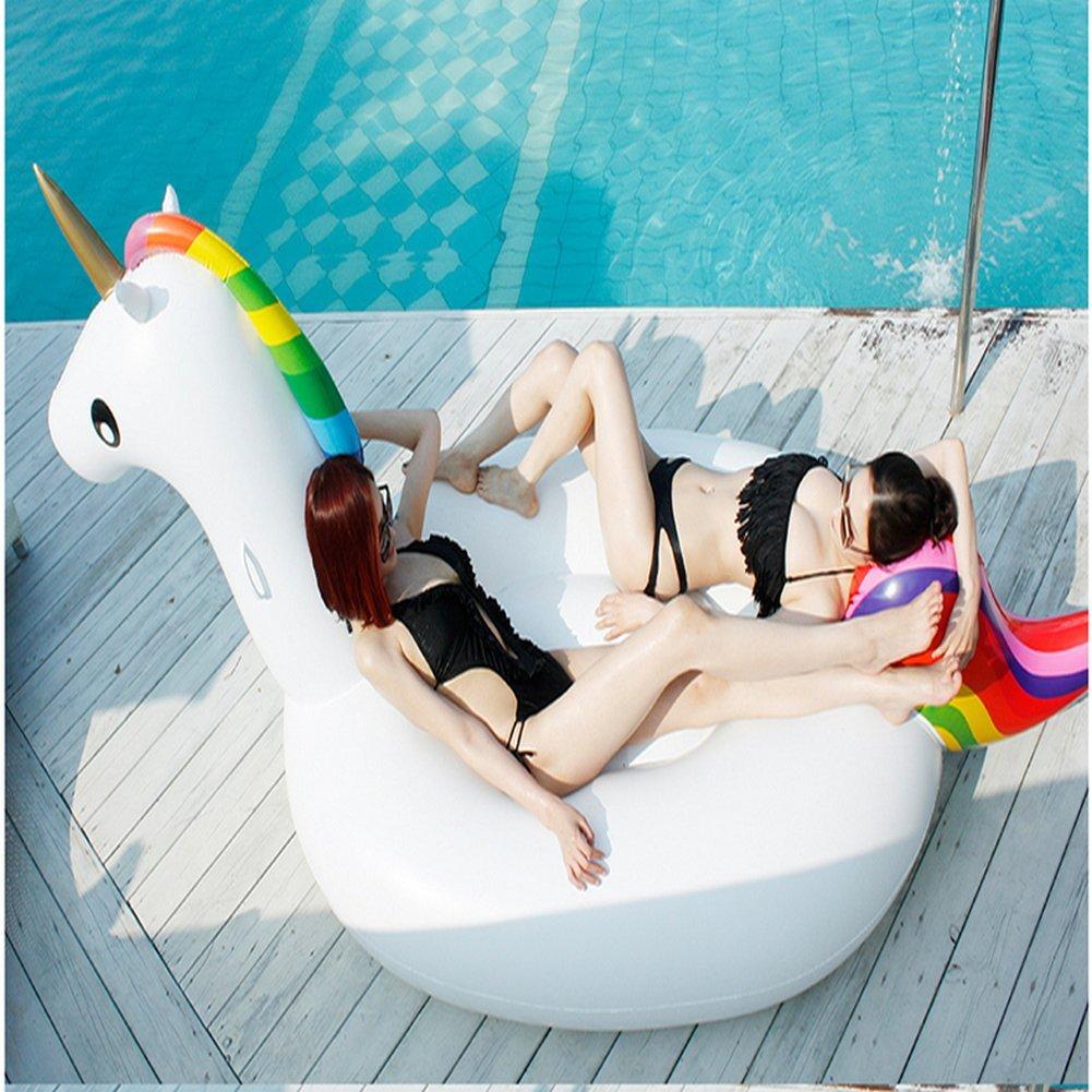 275*140cm*120cm Aufblasbare Schwimmbecken Pool PVC Material Allgemein Erwachsene Kinder Schwimmen Ring Wasser Erholung Freizeit Stuhl Sport Outdoor Spielzeug Raft Lounger Small (Einhorn 275cm)