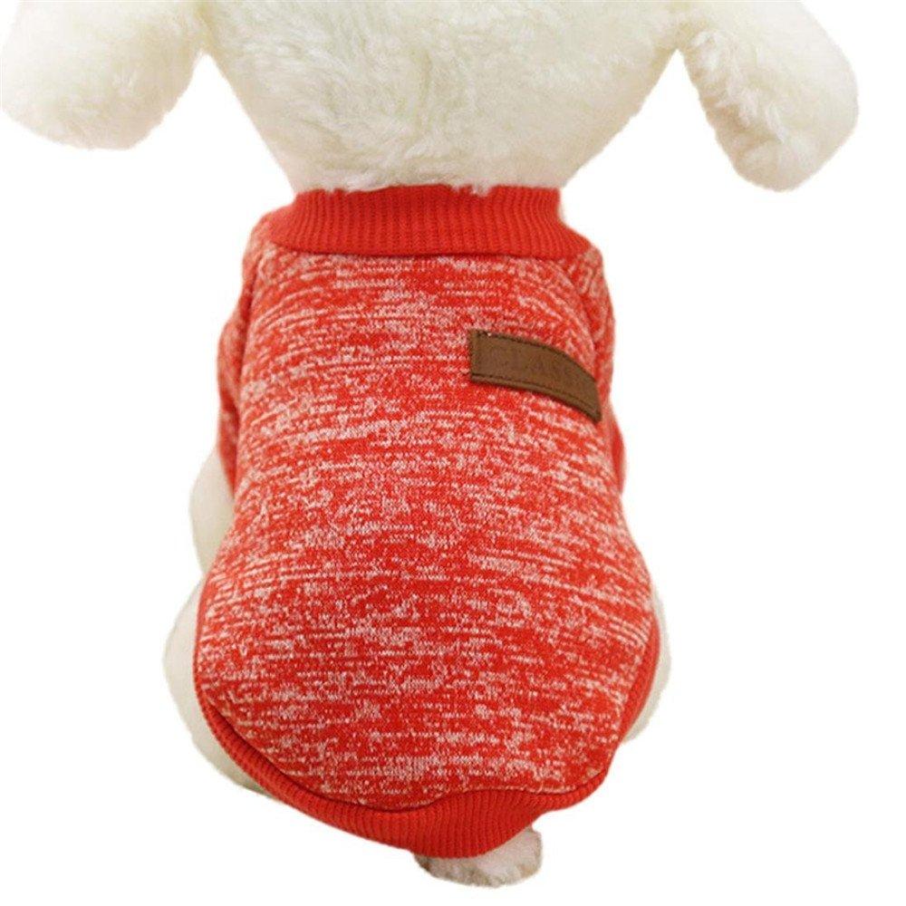 Minkoll Animal Domestique Chien Veste Pull, Chihuahua Yorkshire Chien pour Animal Domestique en Polaire Douce et Chaude Vêtements Manteau (Rouge, XS)