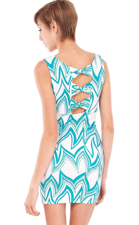 Mint White Ladies Wavy Pattern Print Sheath Dress Triple Bow Back
