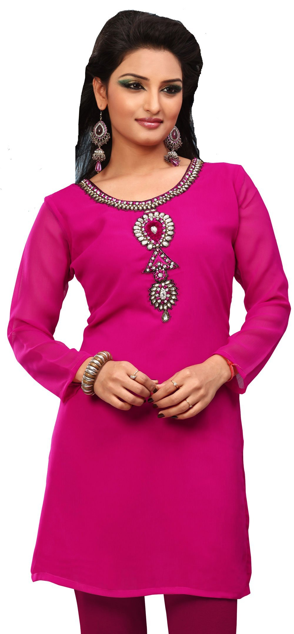 Indian Kurti Top Tunic Party Dress Womens Blouse India Clothes (Pink, L)