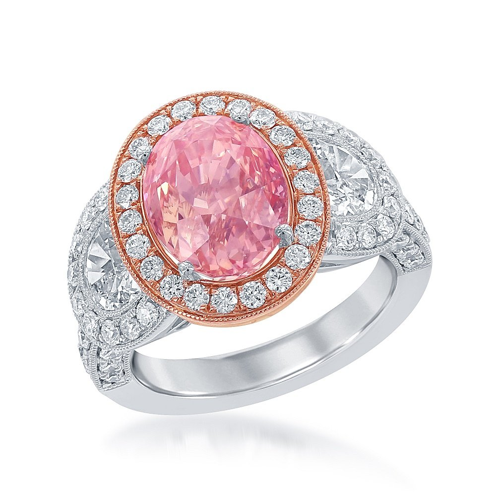 6.25 CT Natural Padparadscha Sapphire and Diamond Ring: Amazon.co.uk ...