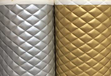 Amazon Com Vinyl Leather Faux Vinyl Quilted Shiny Silver And Gold