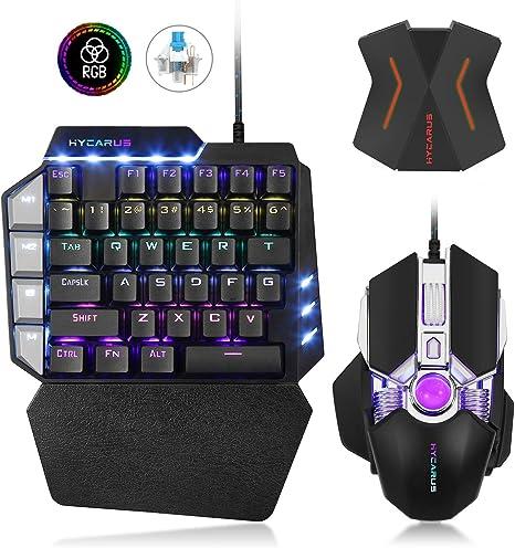 Combo de teclado y mouse mecánico para juegos HYCARUS One Handed con retroiluminación LED RGB. Adaptador