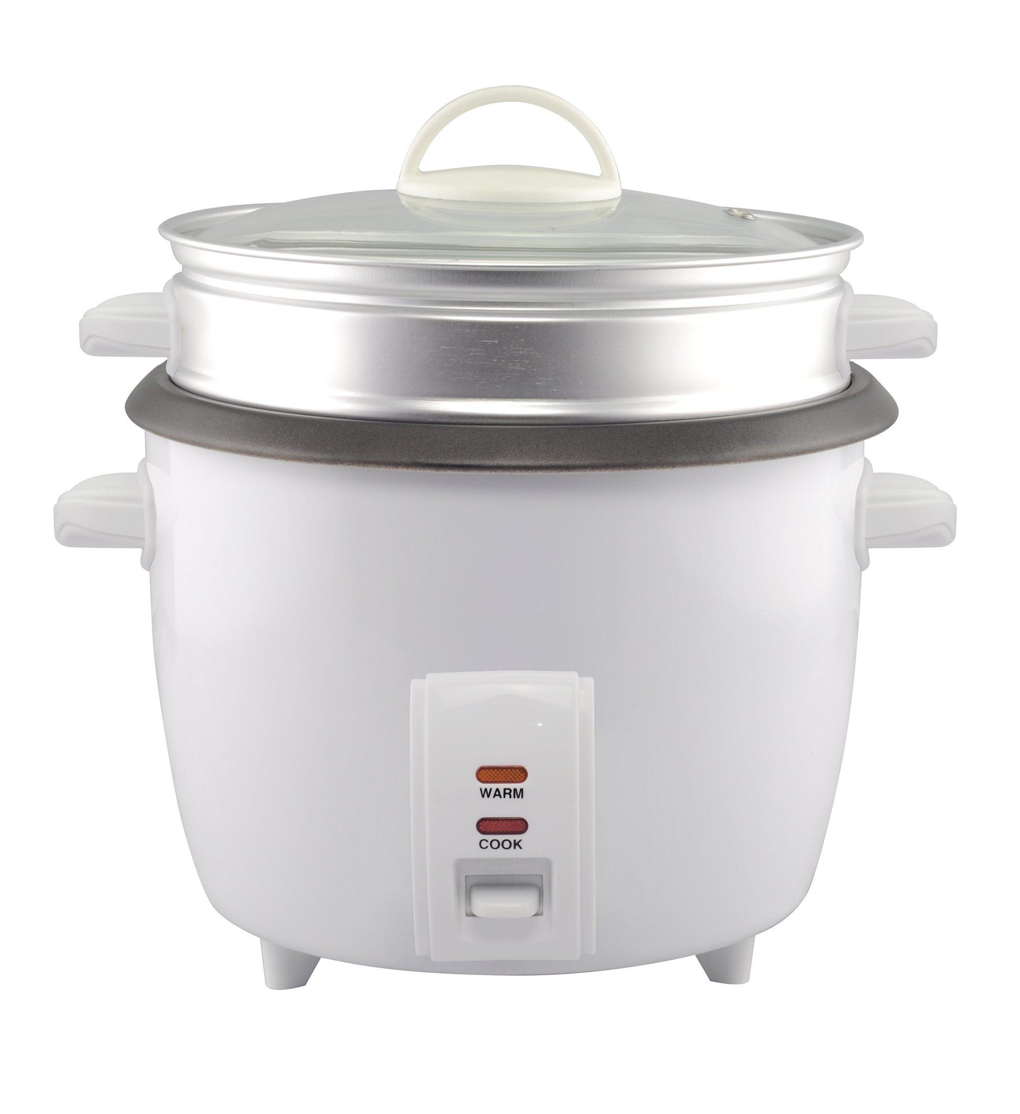GForce Rice Cooker Aluminum Infused 1Liter/10 Cup Rice & Grain Cooker with Aluminum Vegetable Steam Tray - White