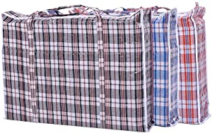 "Simply Home Set of 4 Large Plastic Checkered Storage Laundry Shopping Bags W. Zipper & Handles Size 18.5""x18.5""x5.5"""