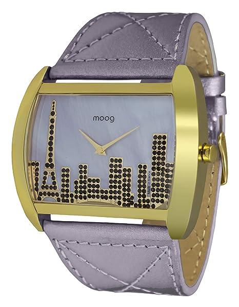 Moog Paris Skyline Reloj para Mujer con Esfera Gris, Correa Gris de Piel Genuina y