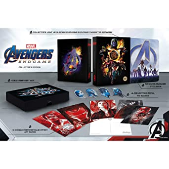 Avengers Endgame 3D Collectors Set / Includes 3D+2D Steelbook / Light Up Display Box / Art Work / Badges / Region Free 3D+2D Blu Ray Blu-ray: Amazon.es: Cine y Series TV