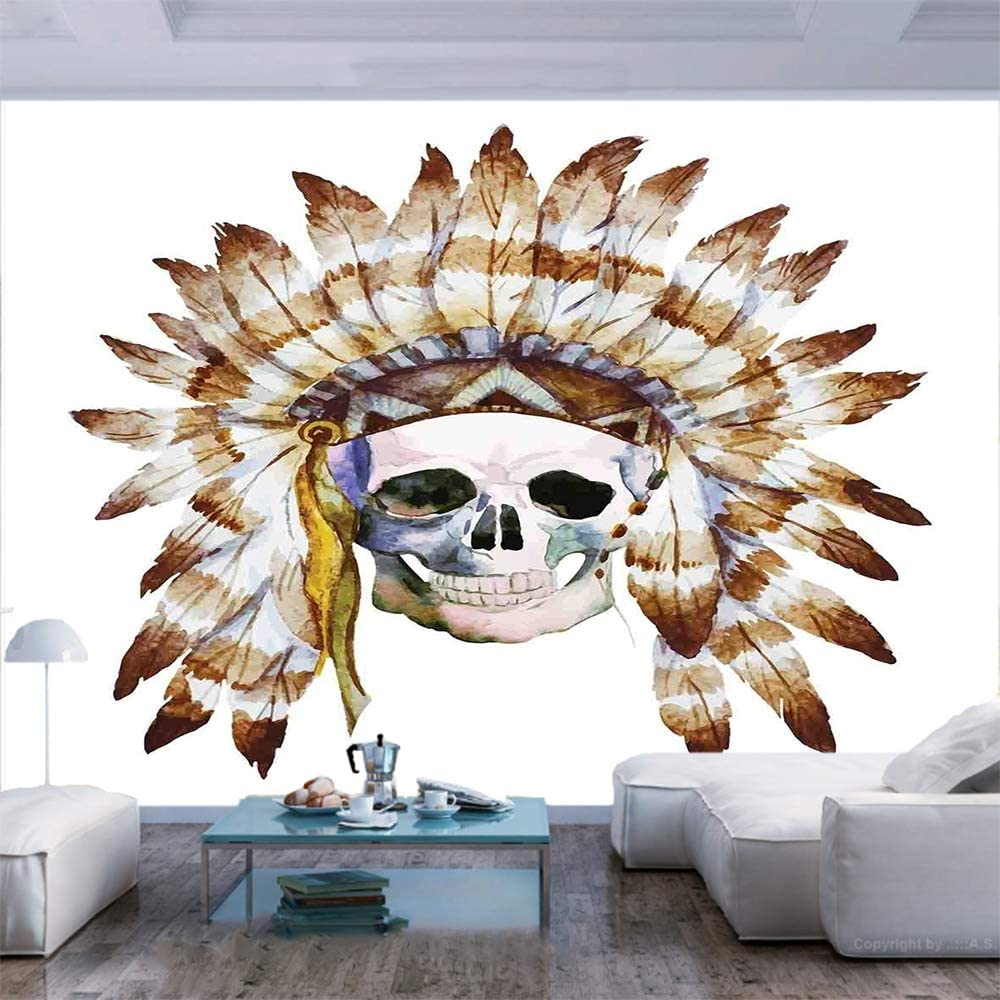 Amazon Com 55x30 Inches Wall Mural Native American Skull Indigenous Dead Man Watercolor Image With Feathers Ethnic Peel And Stick Self Adhesive Wallpaper Removable Large Wall Sticker Wall Decor For Home Office Home Kitchen