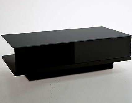 Salesfever Couch Tisch Schwarz Hochglanz Mit Schublade 120x60cm Recht Eckig Carla Moderner Wohnzimmer Tisch Mit Tischplatte Aus Kristallglas 120cm