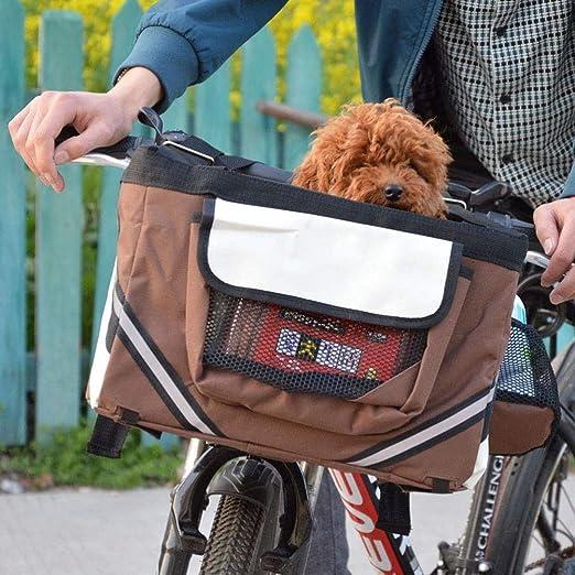 Mascota Mascotas Casa para Sofa Portabicicletas Delantero para Perro con Bolsillos Pequeños, Manillar De Bicicleta, Portabebé Pequeño con Correa para El Hombro, 38X 27X 26Cm, Marrón: Amazon.es: Productos para mascotas