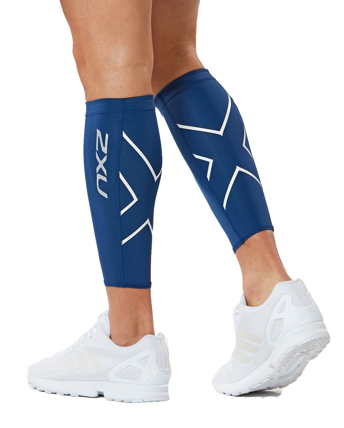 2XU Compression Calf Guards, Navy/White, Large