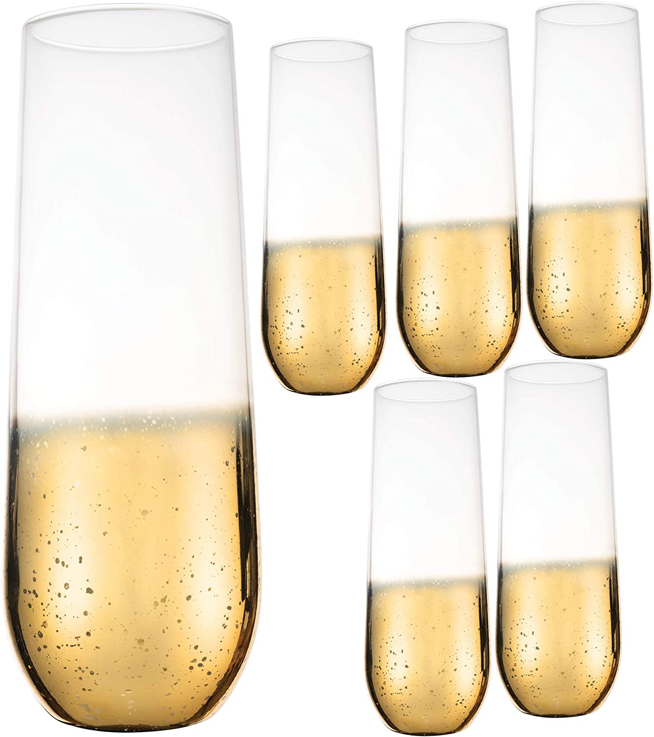 Kitchen Lux 10oz Highball Tumblers - Set of 6 Drinking Glasses - Clear Glass with Gold Rim - Wine, Shots, Cocktails, Champagne, All-Purpose Cups, Elegant Stemless Design, Dishwasher Safe (Gold Base)