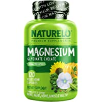 NATURELO Magnesium Glycinate Supplement - 200 mg Natural Glycinate Chelate with Organic Vegetables - Best for Sleep…