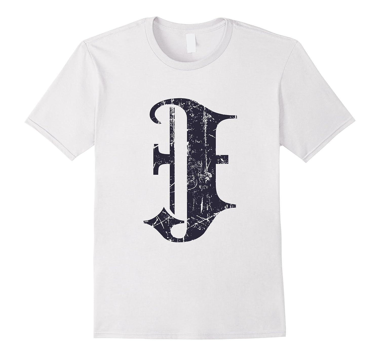Dark Grunge Monogram Letter J Blackletter TShirt