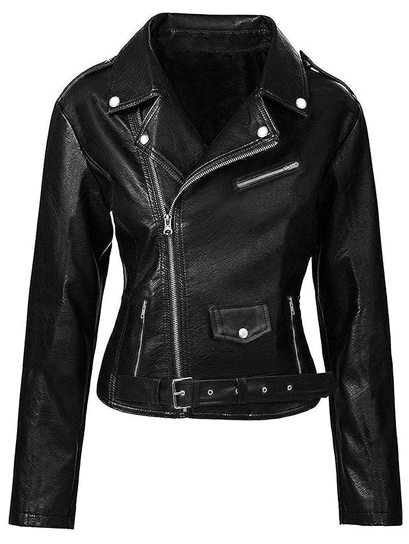 Women' s Motorcycle Leather Jacket - Black Biker Slim Fit Leather Jacket