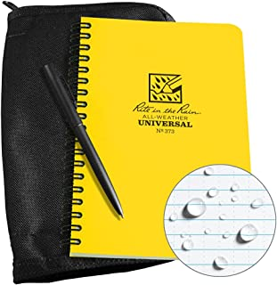 "product image for Rite in the Rain Weatherproof Side Spiral Kit: Black CORDURA Fabric Cover, 4 5/8"" x 7"" Yellow Notebook, and Weatherproof Pen (No. 373B-KIT)"