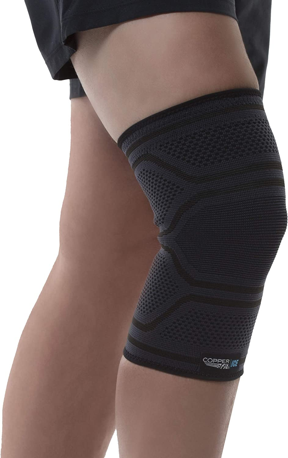 Copper Fit Ice Knit Compression Knee Sleeve Infused with Menthol and Coq10 for Recovery