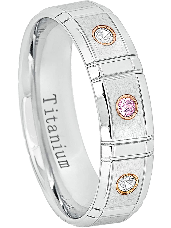 6MM Comfort Fit White Ion Bevelved Edge Titanium Wedding Band 0.21ctw Pink Tourmaline /& Diamond 3-Stone Titanium Ring