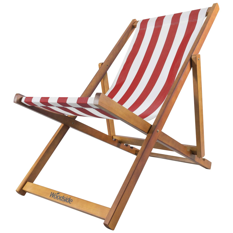 Woodside Traditional Folding Beach/Garden Wooden Deck Chair Seaside Lounger  Red & White
