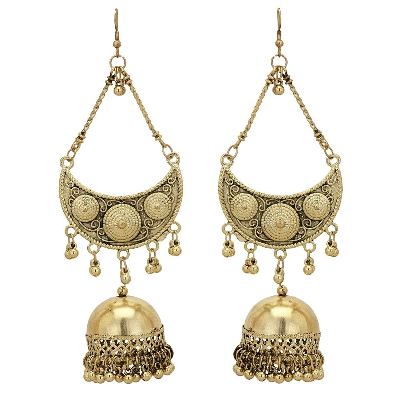 Indian Oxidized Gold Tone Afghani Long Ethnic Bridal Jhumki Fashion Earrings