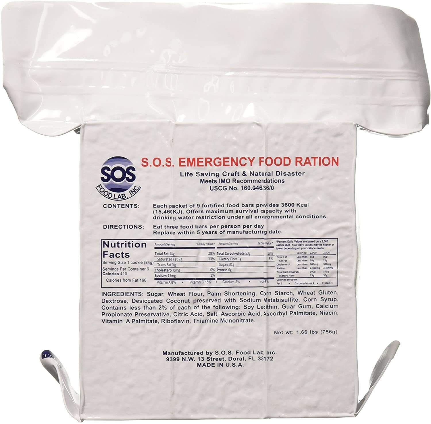SOS Food Labs, Inc. Emergency Rations 3600 Calorie Food Bar - 3 Day / 72 Hour Package with 5 Year Shelf Life- 20 Pack