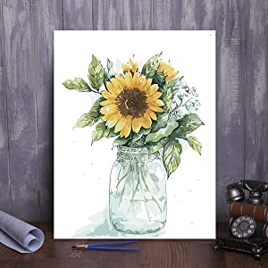 Paint by Numbers for Adults & Kids Easy for Beginners DIY Art Crafts Painting Kits Framed Wooden Canvas Sunflowers Large Boards Color Acrylic Paint Hobbies for Adults Wall Art Decorations