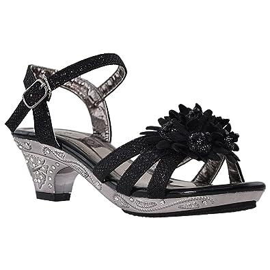 3f37b40d5a1 Generation Y Kids Dress Sandals Rhinestone Ankle Strap Flower Accent Girls  High Heels GY-KS-KIM-03