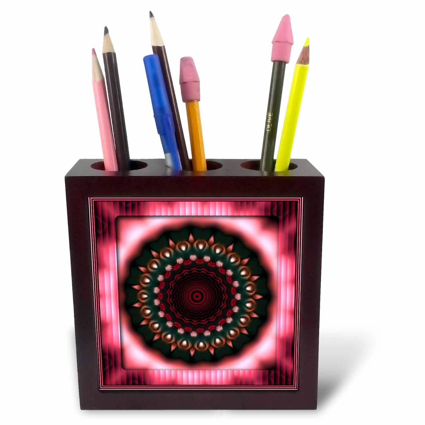 3dRose ph_26763_1 Mandala Pink Zen Meditation Orient India Inner Harmony Peace Chakra Spirituality Flowerpower-Tile Pen Holder, 5-Inch