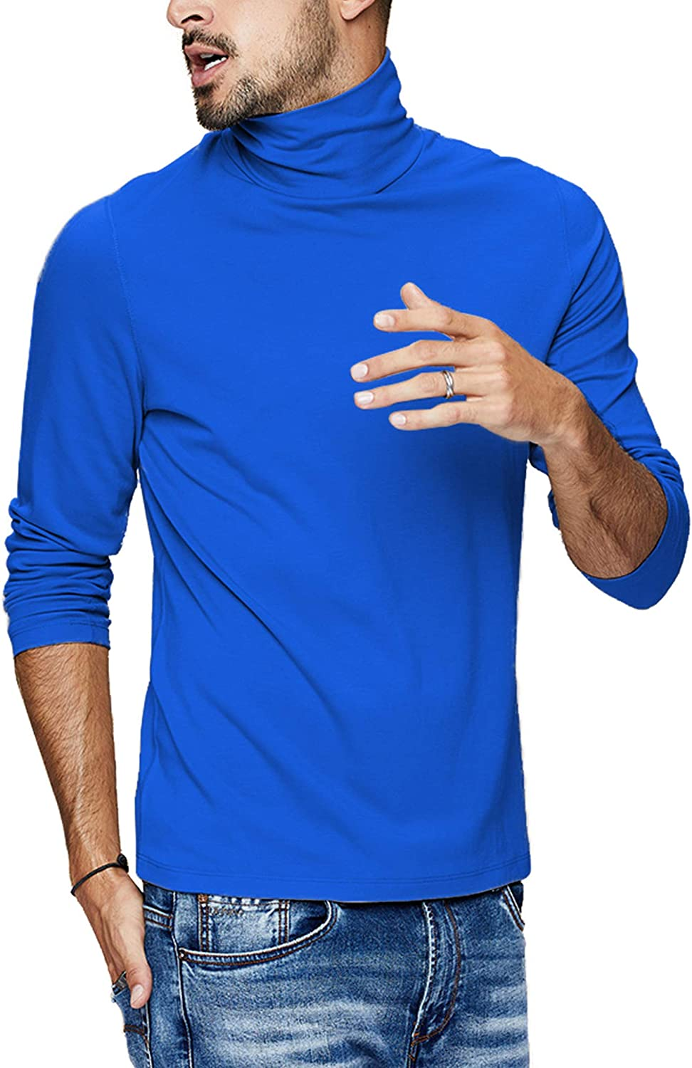 LecGee Mens Slim Fit Basic Thermal Turtleneck T Shirt Long Sleeve Casual Pullover Shirts