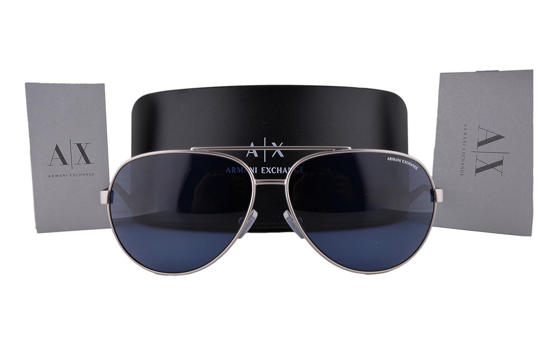 89e36ebe9b01 Armani Exchange AX2017S Sunglasses Matte Silver w Blue Lens 602080 AX 2017  For Men  Amazon.co.uk  Clothing