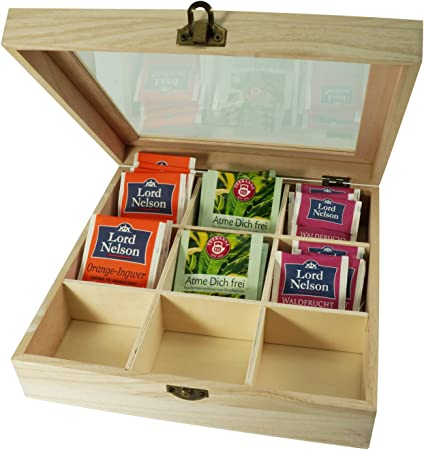 Incutex caja almacenaje té, caja té compartimentos, caja té bolsitas, caja té madera con 9 compartimentos y ventana transparente: Amazon.es: Hogar