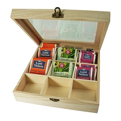 Incutex caja almacenaje té, caja té compartimentos, caja té bolsitas, caja té madera