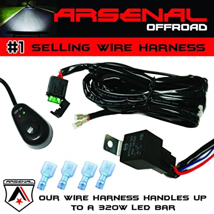#1 arsenal offroad led light bar universal wiring harness - 40 amp relay on/