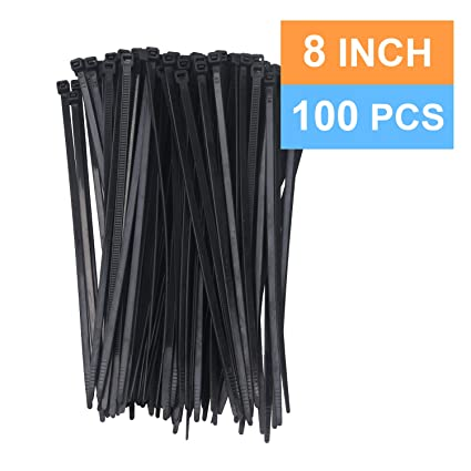 b82fe0bbd048 Cable Ties 8 Inch, 100 Pcs, 0.19 Inch/4.8mm Width, Strong Zip Ties ...