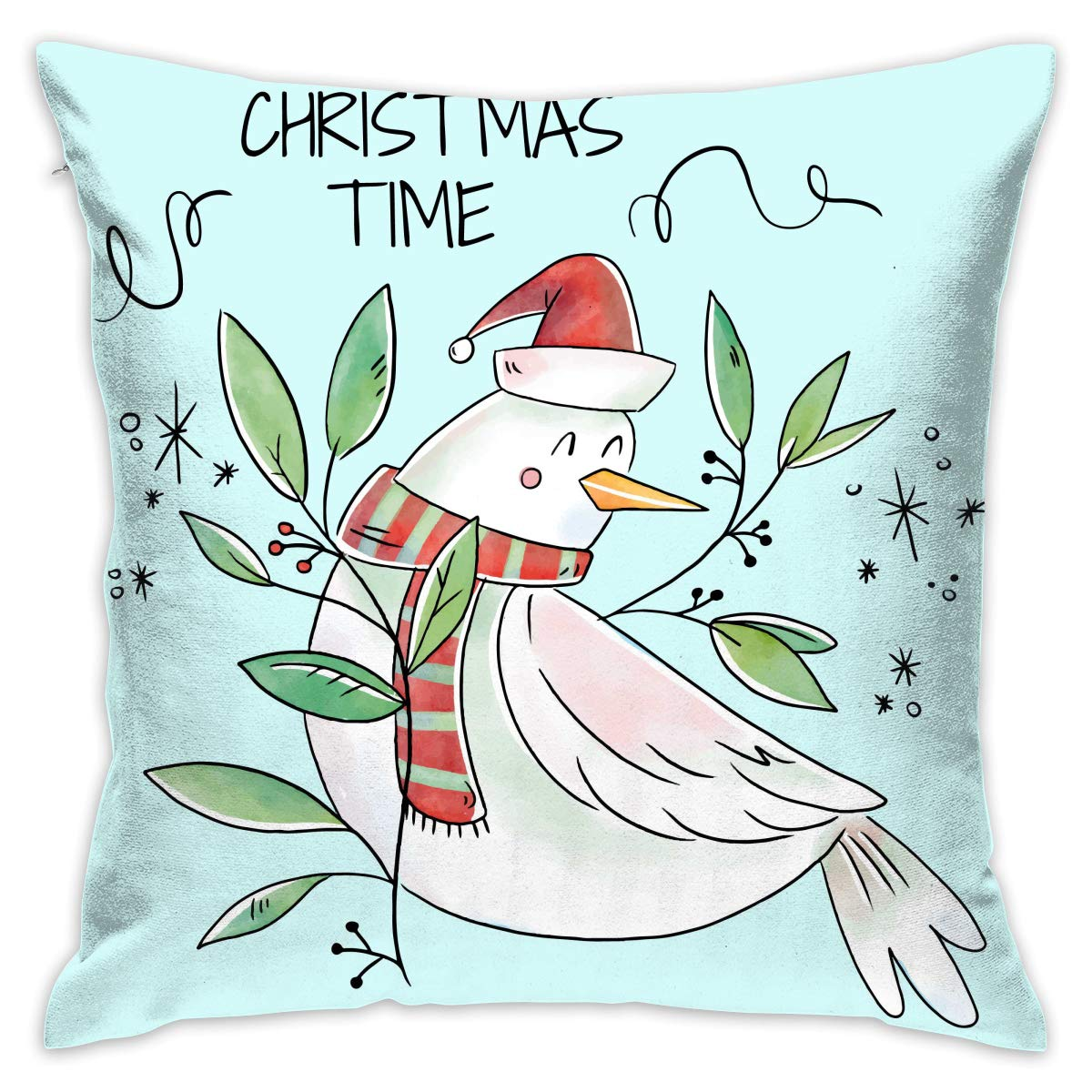 Amazon.com: BINGZHAO Cute Whit Bird Smiling with Xmas Leaves ...