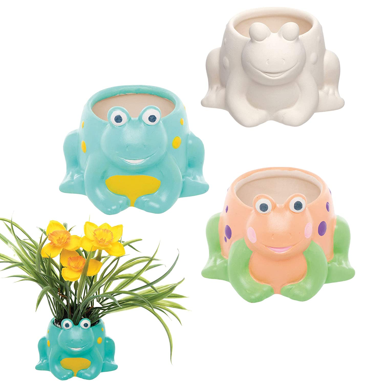 Baker Ross Frosch individualisierbare Keramik Blument/öpfe Kreative K/ünstler- und Bastelbedarf f/ür Kinder zum Basteln Personalisieren und Schm/ücken 2 St/ück