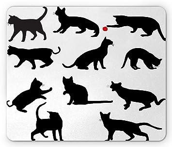 Gato Ratón Pad Por Ambesonne Silueta De Gatitos En Diferentes