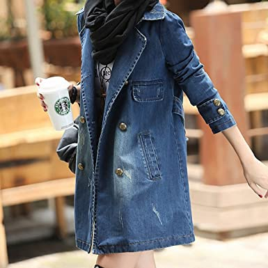 BABY-QQ New style Womens Denim Coats NEW Spring Turn-Down Collar Long Sleeve
