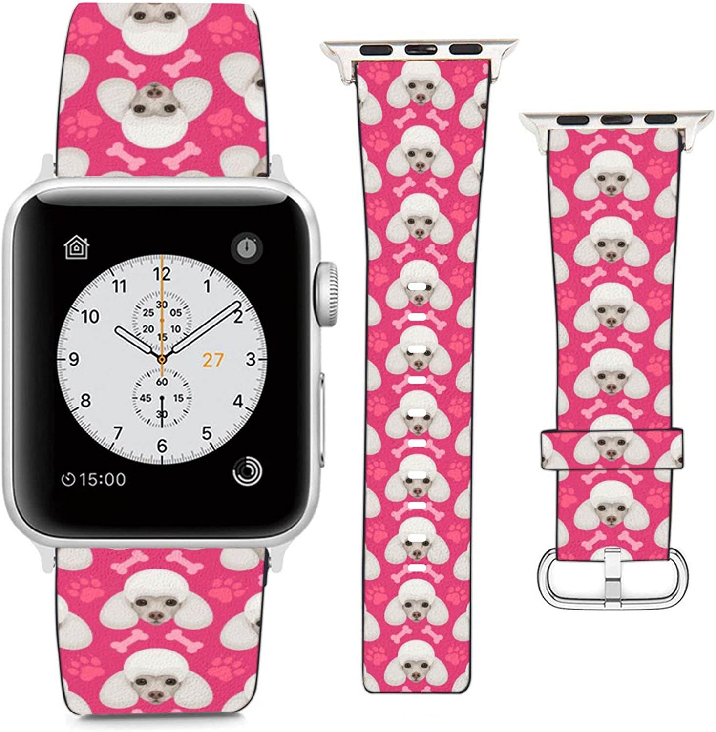 Compatible with Apple Watch Wristband 42mm 44mm, (Poodle Dog, Bone and Paw On Hotpink Background) PU Leather Band Replacement Strap for iWatch Series 5 4 3 2 1