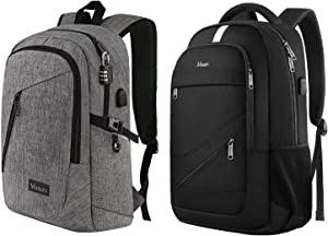 Bundle - Laptop Backpack, Water Resistant Bookbag with Lock and USB Charing Port | College Computer Bag for Business Travel, Grey & Black
