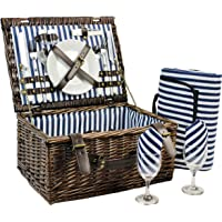 INNO STAGE Wicker Picnic Basket for 2, Picnic Set for 2,Willow Hamper Service Gift Set for Camping and Outdoor Party Best Gift