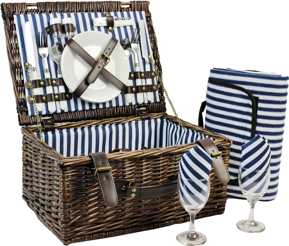 Wicker Picnic Basket for 2, Picnic Set for 2,Willow Hamper Service Gift Set for Camping and Outdoor Party Best Gift by INNO STAGE