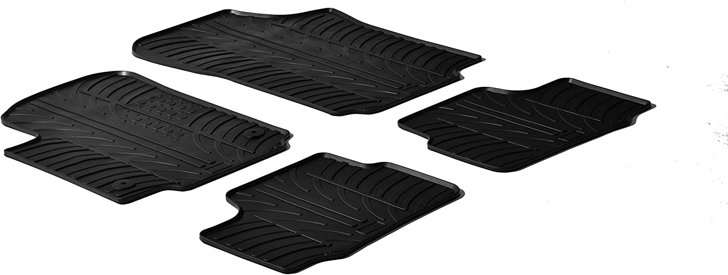 T Profile 2-Piece + Mounting Clips Rubber Mat Set Compatible with Smart ForTwo 453 2014-