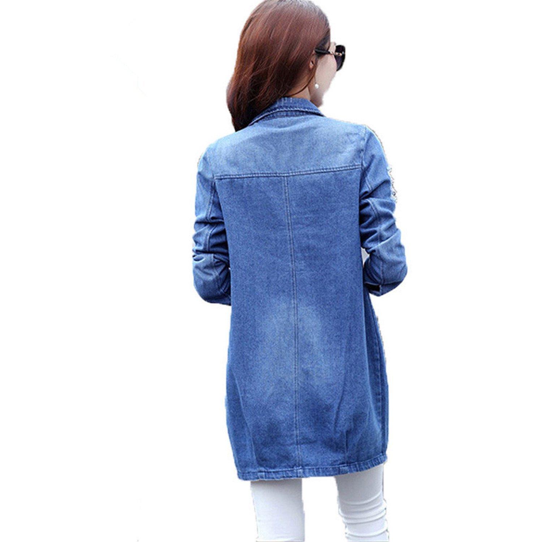 B dressy Plus Size 5XL Denim Jacket Women Fashion Long ...