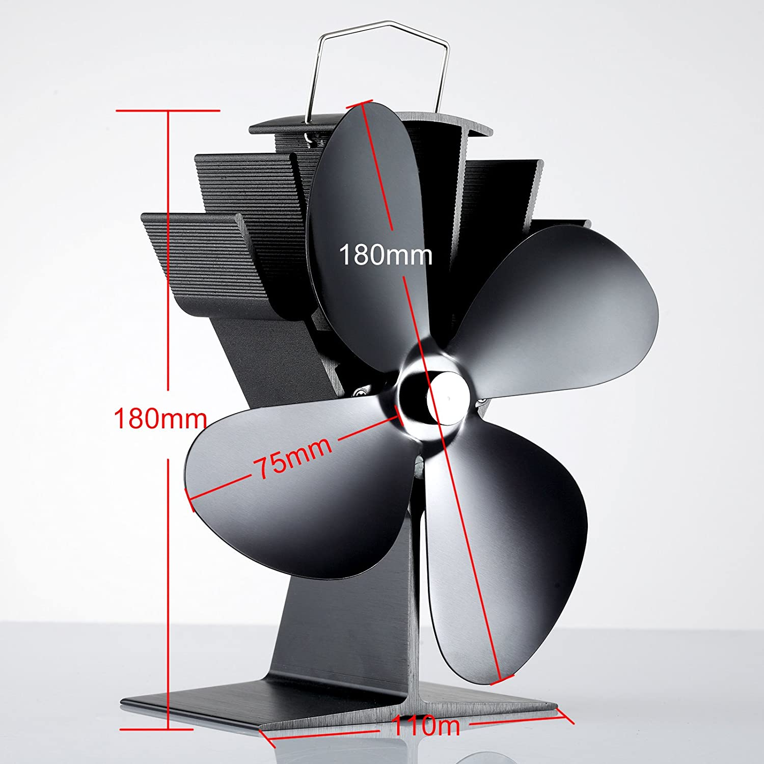 Heat powered fans for wood stoves - Tribesigns New Design 4 Blade Heat Powered Stove Fan For Wood Log Coal Burner Wood Stoves Eco Friendly Black Amazon Co Uk Diy Tools