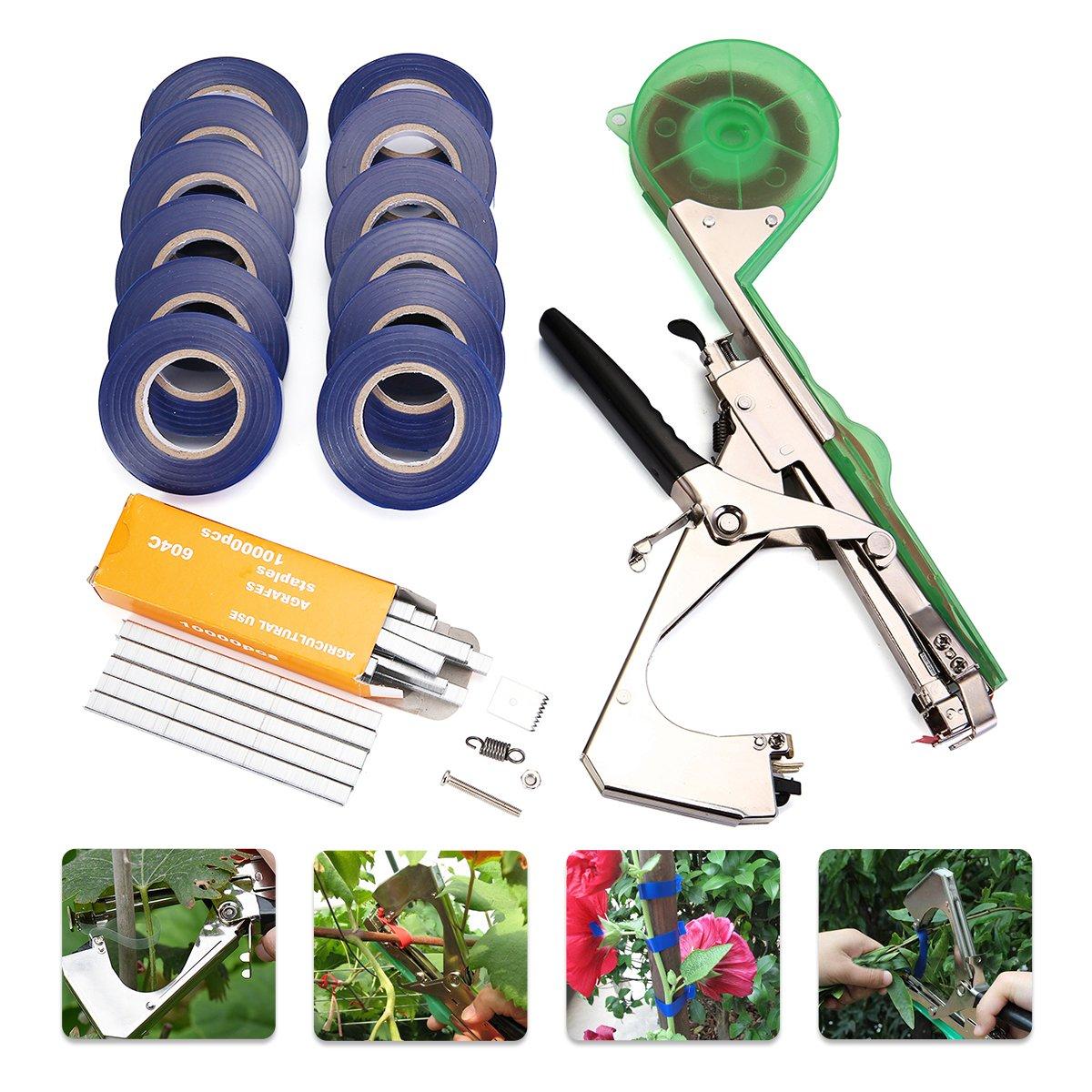 KING DO WAY Bindezange Tapetool Bindemaschine mit Tapes für Pflanze Rankhilfen Rebe,Grün