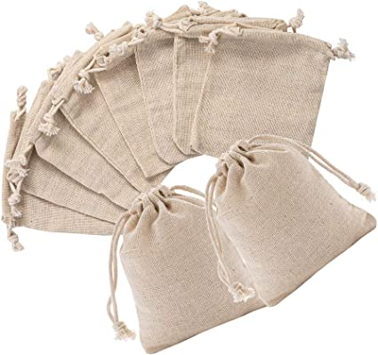Cotton Small Linen Bag Drawstring Pouches DIY Gift Wedding Party Gift Favor Bags
